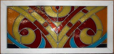 """LARGE OLD ENGLISH LEADED STAINED GLASS WINDOW Abstract Colorful 19"""" x 40.25"""""""
