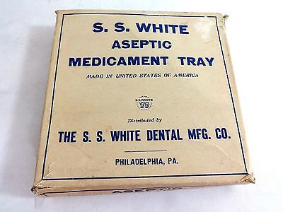 Ss White Antique Milk Glass Dental Medicament Tray In Original Box Vtg 1900-1915
