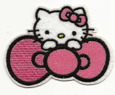 Cute Hello Kitty with a Pink Bow Embroidered Patch Iron-on Good Luck Charm