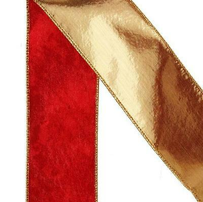 "NEW RAZ 4"" Double Sided Burgundy and Gold Velvet Wired Christmas Ribbon R3504208"