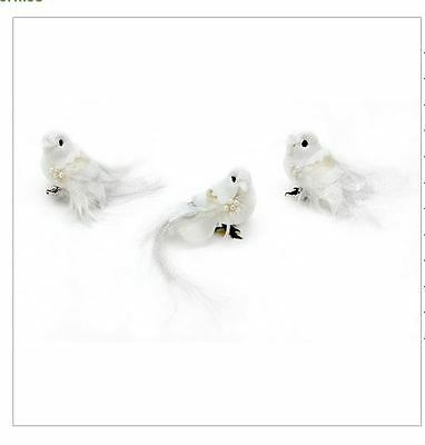 Feather Dove - White with Pearl Sequins - 2.75 inches - 1 bird
