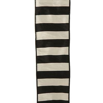 """NEW RAZ 4"""" Black and Silver off White Striped Wired Christmas Ribbon R3527712"""