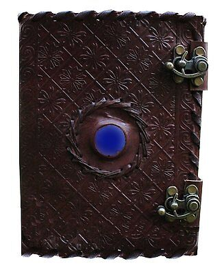 Handmade Embossed Blue Stone Leather Journal Notebook Refillable Sketchbook with