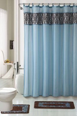 4pc BATHROOM rugs set MAJESTIC BLUE bath rug fabric shower curtain and mat/rings