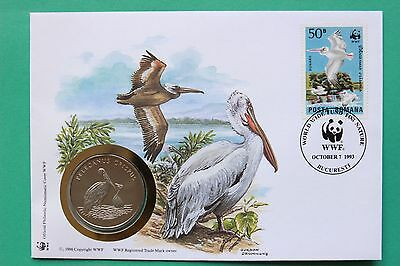 1993 Romania World Wildlife Fund WWF Pelican Crispus Coin cover SNo42747