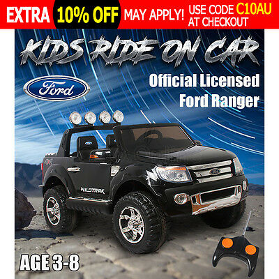 Electric Kids Ride on Car Licensed Ford Ranger Truck Children Toy Remote Black