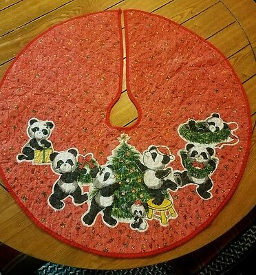 "Vintage Panda Bear Christmas Tree Fabric Quilted Skirt 31"" Home Decor"