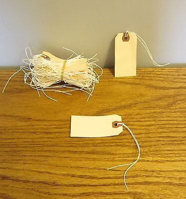 """100 Avery Dennison Pre Strung  #2 Blank Shipping Tags 3 1/4"""" By 1 5/8"""" Scrapbook"""