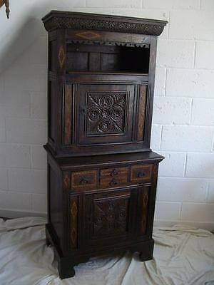 Antique Inlaid Carved Country Oak Cabinet On Cupboard