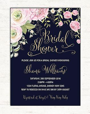 Floral BRIDAL SHOWER Invitation Pink Gold Flowers Invite Hens Night Garden Party