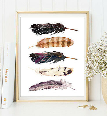 A4 Boho Feathers Art Print Bohemian Office Home Wall Decor Gift UNFRAMED