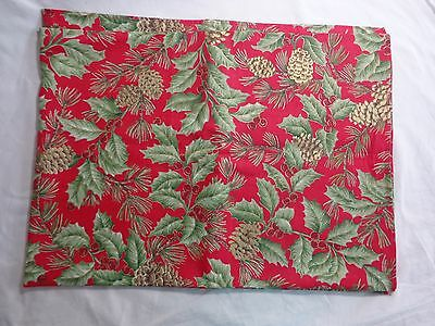 "CHRISTMAS TABLECLOTH 84"" x 60"" Rectangle Red Fabric Pine Cones Holly Berries"