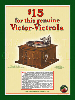 """12"""" X 16"""" Reproduced Victor Victrola Advertisement Canvas Banner"""