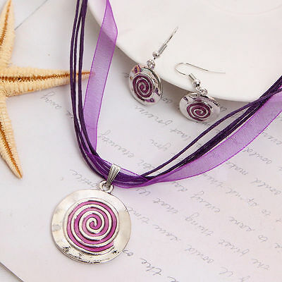 Silver & Purple Color Round Ribbon Cord Pendant Necklace Drop Earrings  Set Gift
