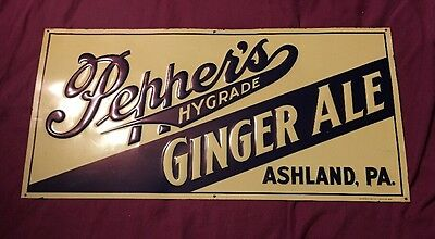 "Peppers Hygrade Ginger Ale  Ashland Pa. Metal Sign 24"" X 12"" Extremely Rare"
