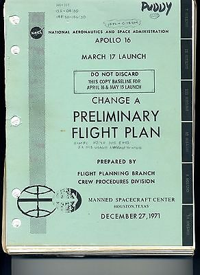 Apollo 16 Preliminary Flight Plan Owned and Used by Flight Director Donald Puddy
