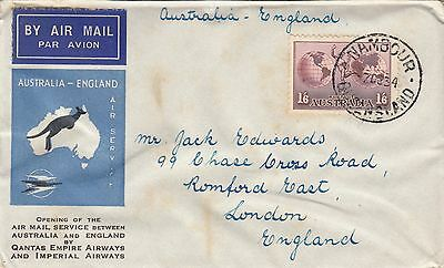 Stamp 1/6 Hermes airmail Imperial & QANTAS airways from Nambour to London toned