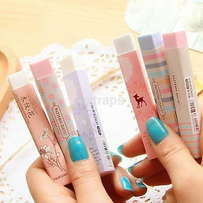 2PCS Kawaii Cartoon Pencil Erasers Writing Drawing Office School Stationery Gift
