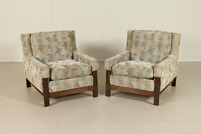 Two Armchairs by F.lli Saporiti Rosewood Foam Fabric Vintage Italy 1960s