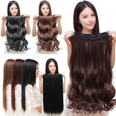 Women Lady 3/4 Full Head Clip In Hair Extensions Curly Wavy Straight Hair