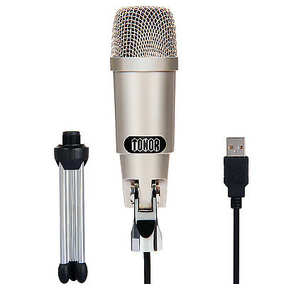 Professional USB Condenser Microphone MIC PC Podcast Recording with Stand TONOR