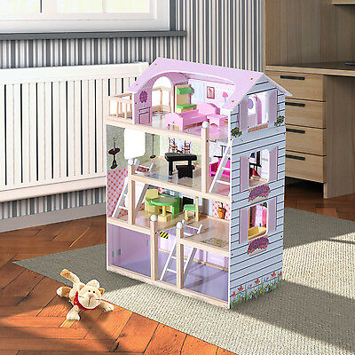 HOMCOM Wooden Kids Doll House with 13 Piece Furnitures Cottage Dollhouse NEW