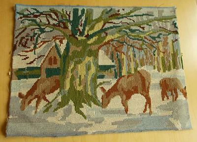 Swedish vintage hand-embroidered needlepoint sampler, deer in snowy forest