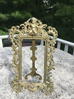Antique Solid Brass Victorian French Rococo Tabletop Frame 12x7.25""