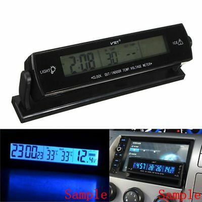 LCD Digital Car Clock Thermometer Temperature Voltage Meter Battery Monitor 12V