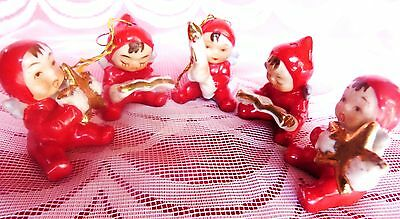 Antique Christmas Angels Pixie 5Pc Japan Napco Interest Vintage Christmas