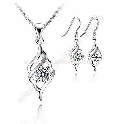 925 Sterling Silver Jewellery Pendant Necklace Earring Wedding Bridal Gift UK