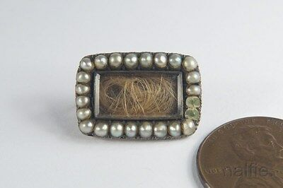 ANTIQUE ENGLISH LATE GEORGIAN GOLD PEARL HAIR LOCKET MOURNING BROOCH c1820