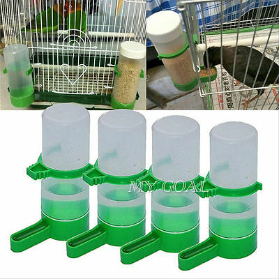 4Pcs Bird Drinker Food Feeder Drinking Water Bottle with Clip for Lovebirds Cage