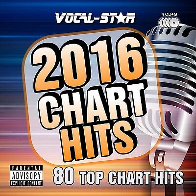 Karaoke 2016 Chart Hits CDG CD+G Disc Set - 80 Songs on 4 Discs Including The...