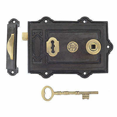 Anvil 83578 Davenport Cast Iron Rim Lock & Keys Traditional Period (Atc)