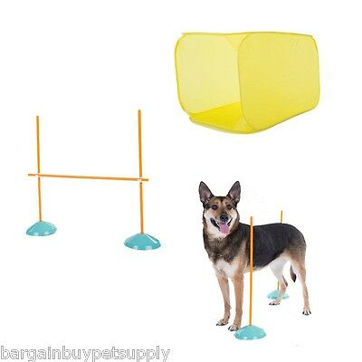Kyjen Outward Hound Dog Tunnel High Jump Weave Poles INDOOR Agility Starter Kit