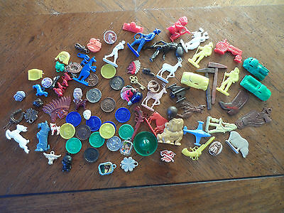Large Variety (86) Gumball Charm Crackerjack Vintage Western Guns Animals Coins