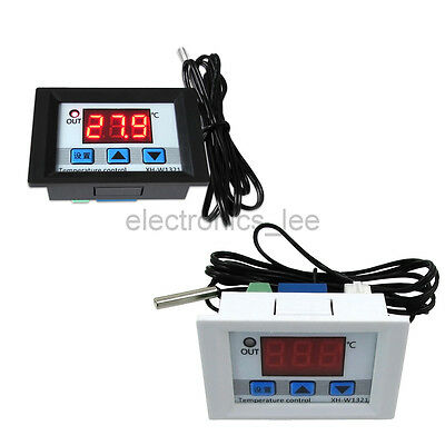 DC12V Digital LED Relay Temperature Controller Embedded Thermostat White Black