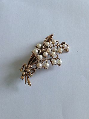 Delightful Vintage 9ct Rose Gold & Cultured Pearl Set Lily Of The Valley Brooch