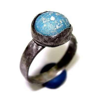 Ancient Post medieval ornamental silver ring with blue stone.