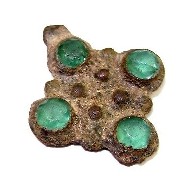 Ancient RARE Roman Medieval Bronze Pendant Cross with green Stones