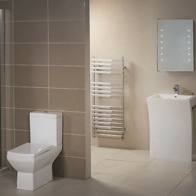 Close Coupled Toilet and Seven Basin 2 Piece Bathroom Suite White Ceramic Modern