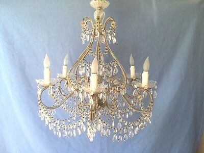 Antique Vintage Macaroni Beaded Crystal Marie Antoinette Chandelier 6 Light