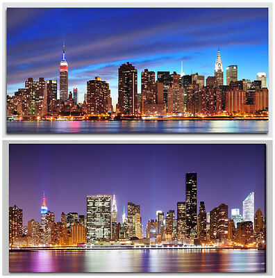 80 x 40cm Light Up Night City Skyline Flickering LED Canvas Wall Art Picture