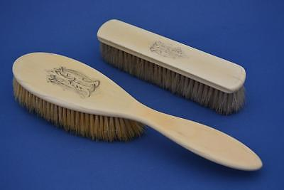 Antique Edwardian Bone Brushes with Natural Hair x 2