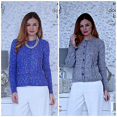 KNITTING PATTERN Ladies Lace Hem Cable Cardigan Galaxy DK King Cole 4758