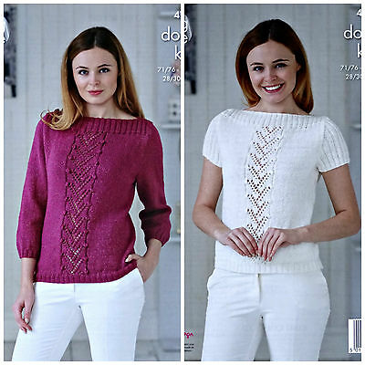 KNITTING PATTERN Ladies 3/4 or Short Sleeve Lace & Bobble Top Glitz DK KC 4760