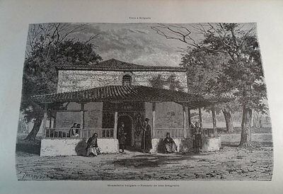 ANTIQUE ENGRAVED BULGARIA 1876 BULGARIAN MONASTERY 19th CENTURY PRINT  037CC