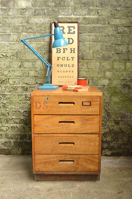 Vintage Mid Century Industrial School Chest of 4 Drawers Sideboard Cabinet