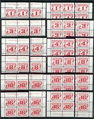 Weeda Canada J28ii/J37i VF mint NH sets of PBs, Third Postage Due issue CV $105